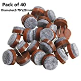 """40pcs Round Heavy Duty Nail-on Anti-Sliding Felt Pad(Dia 0.79"""" or 20mm,brown) for Wooden Furniture Chair Tables Leg Feet By Alimitopia"""