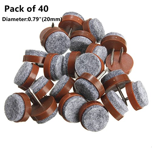 40pcs Round Heavy Duty Nail-on Anti-Sliding Felt Pad(Dia 0.79' or 20mm,brown) for Wooden Furniture Chair Tables Leg Feet By Alimitopia