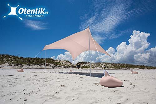 Otentik Beach Sunshade Sandbag Anchors – The Original Sunshade Since 2011 (LightBlush, Large 8.5 x 9 ft 6.5 ft Tall – up to 7 People)