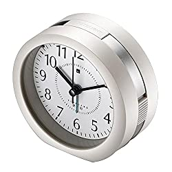 Kanical Round Silent Analog Non-Ticking Quartz Alarm Clock Desk Clock with Night Light for Bedside Travel - Music to Wake You (Silver)