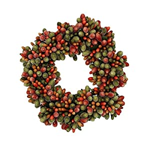 6.5-inch Beaded Berry Wreath Candlering Candle Ring Fall Green Orange Brown 20