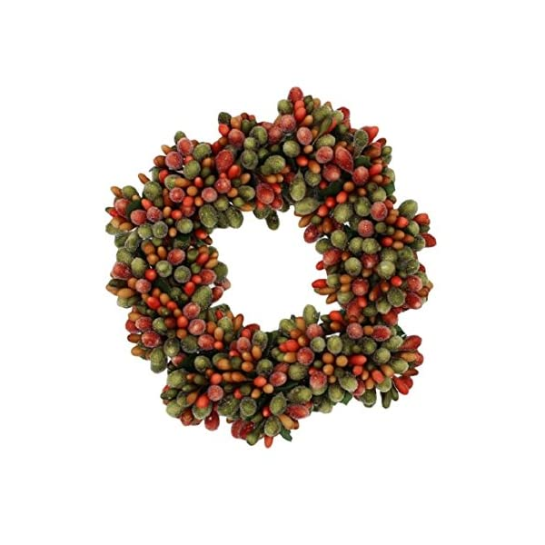 6.5-inch Beaded Berry Wreath Candlering Candle Ring Fall Green Orange Brown