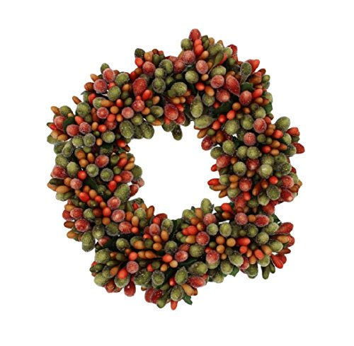 6.5-inch Beaded Berry Wreath Candlering Candle Ring Fall Green Orange Brown by RAZ Imports