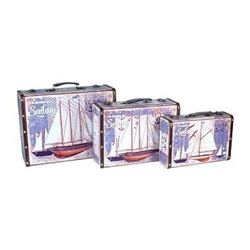 Set de 3 Maletas Decorativas de Madera Barcos Voyage. Accesorios de Viaje. Regalos Originales. Decoración Hogar. 31 x 40 x 15.5 cm.: Amazon.es: Equipaje