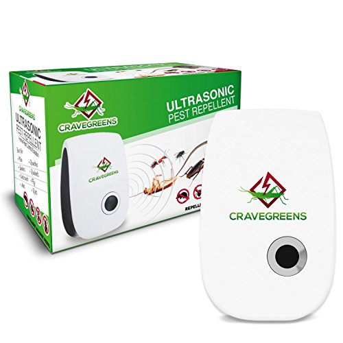 Cravegreens Pest Control Ultrasonic Repellent -Electronic Plug -In Repeller for Insects- Best Repellent for, Cockroach, Rodents, Flies, Roaches, Ants, Spiders, Fleas, Mice - White Color