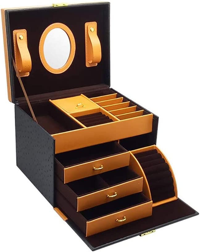 SMEJS Alta Capacidad de Espejo joyería Caja Organizador con la manija, Caso de Almacenamiento de Suave Cuero de la PU la joyería de Madera Decorativa for Pulseras (Color : C)