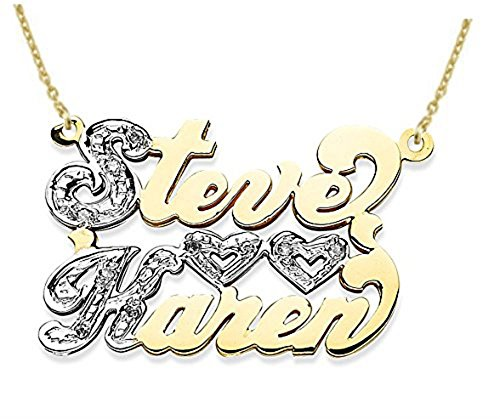 Rylos Personalized 2 Name Diamond Open Heart Nameplate Necklace 20MM 14K 14K White or 14K Yellow Gold. Special Order, Made to Order. ()