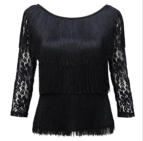 Flow Solel adult Latin dance dress with long sleeves jacket , black , s (Lotus Womens Flow Lace)