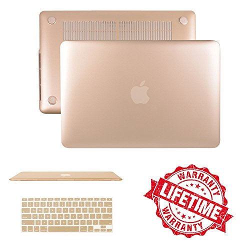 Gold Matte Case Cover with Keyboard Cover Compatible MacBook Air 13(A1466/A1369), IC ICLOVER Ultra Slim Light Weight Rubberized Hard Plastic Protective Case Keyboard Cover Free Shock Water Scratch