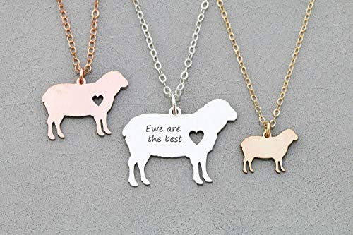 - Sheep Necklace - IBD - Lamb Charm - Mom Gift - Personalize with Name or Date - Choose Chain Length - Pendant Size Options - 935 Sterling Silver 14K Rose Gold Filled - Ships in 1 Business Day