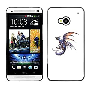 Colorful Printed Hard Protective Back Case Cover Shell Skin for HTC One M7 ( Dragon Grey Fire Flying Wild Mythical Animal )