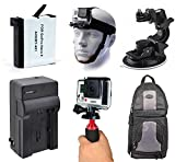 AHDBT-401 AHDBT401 Battery + Charger + Head Helmet Strap + Car Suction Window Dash Dashboard Mount + Backpack + Stabilization Handheld Grip Handle for GoPro HERO4 Hero 4 Black Silver