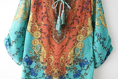 Print DDLBiz amp;Summer Sleeves Blue Dress Mini Spring Party Chiffon TM Loose 4 Ladies 3 6AA8w