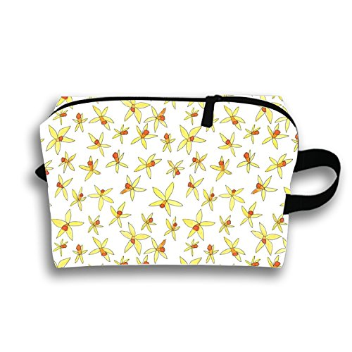 Small Daffodil Pattern Travel Cosmetic Bag Portable Makeup Pouch Pencil Holders