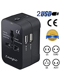 Adaptador de Viaje Internacional Universal All In One Adaptador de Enchufe Power AC Cargador Multi Socket Outlet Plugs con Puertos de Carga USB Cargador Dual para EE. UU. UE Reino Unido Teléfono celular AUS Europet-Negro