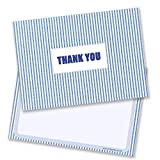 Blue Stripy Material Thank You Cards - Includes Envelopes (Pack of 10) - by Ruby Ashley