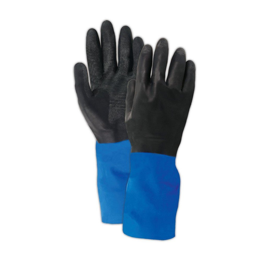 SHOWA CHMM-08 CHM Neoprene Over Natural Rubber Latex Glove with Cotton Flock Liner,Black, Medium (Pack of 12 Pairs)
