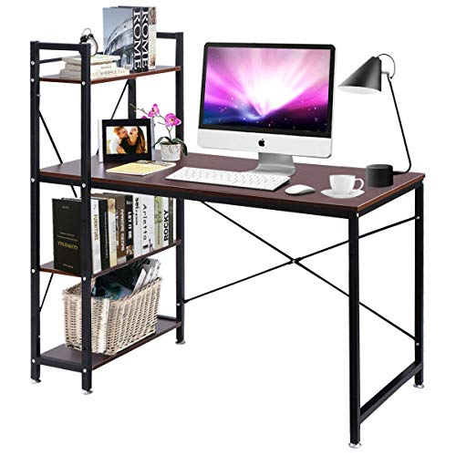 Tangkula Computer Desk, Modern Style Writing Study Table with 4 Tier Bookshelves, Home Office Desk, Compact Gaming Desk, Multipurpose PC Workstation(Brown)