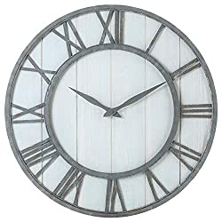 Oldtown Farmhouse Metal & Solid Wood Noiseless Wall Clock (Whitewash, 24-inch)