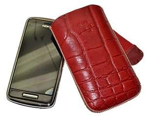 Suncase - Funda de cuero para Nokia C6-01, color rojo con relieve