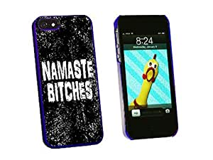 Graphics and More Namaste Bitches Distressed Inspirational Snap-On Hard Protective Case for iPhone 5/5s - Non-Retail Packaging - Blue