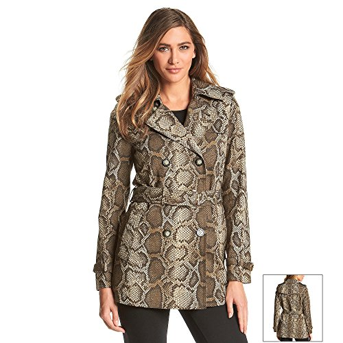 Michael Kors Women's Snake-Print Belted Trench Coat (Medium, Duffle) (Michael Kors Trench Coat)