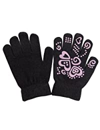 Girls Fun Winter Magic Gloves With Rubber Print (Up to 12 years) (Black)