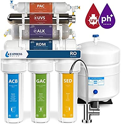 Express Water Alkaline Ultraviolet Reverse Osmosis Water Filtration System  – 11 Stage RO UV Mineralizing Alkaline Purifier with Faucet and Tank –  Under Sink ... 69e1c00967