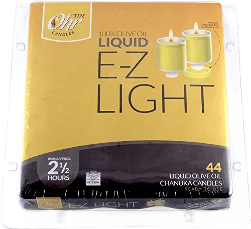 Ohr Candles E-Z Light Olive Oil Chanuka Candles, Oil Cups 44 Ct. Pk Of 1.