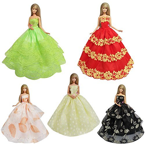 DSstyle 5pcs Fashion Handmade Princess Dress Wedding Party sets for Barbie Dolls (Juego De Galaxy Life Halloween)