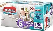 Huggies All Around Pañal Desechable para Bebé, Etapa 6 Unisex, Paquete con 40 piezas, Ideal para bebés de más