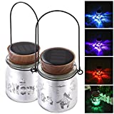 Yescom 2-Pack Solar Powered Jar Light LED Color Changing Hanging Lamp Halloween Garden Yard Patio Outdoor Decor