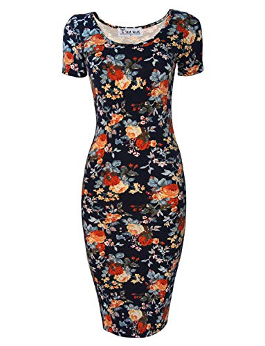 (TAM WARE Women's Sweetheart Short Sleeve Midi Dress TWCWD053-DNAVY-US XL)