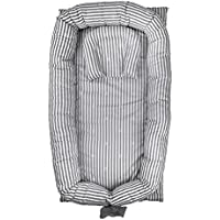 Abreeze Baby Bassinet for Bed -Grey Striped Baby Lounger - Breathable & Hypoallergenic Co-Sleeping Baby Bed - 100% Cotton Portable Crib for Bedroom/Travel