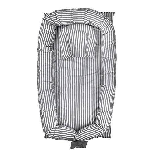 Dock Insert - Abreeze Baby Bassinet for Bed -Grey Striped Baby Lounger - Breathable & Hypoallergenic Co-Sleeping Baby Bed - 100% Cotton Portable Crib for Bedroom/Travel
