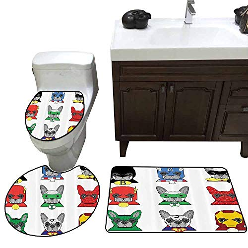 3 Piece Extended Bath mat Set Superhero Bulldog Superheroes Fun Cartoon Puppies in Disguise Costume Dogs with Masks Artprint Elongated Toilet Lid Cover Set Multicolor -