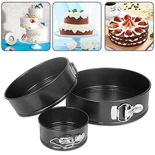 Springform Pan,AIKO 3PCS 4'' 7''9'' Nonstick Cake Pan Set Round Leakproof Bakeware Pan with Release Latch,Easy to Off Mould,with Silicone Gloves (4''+7''+9'')