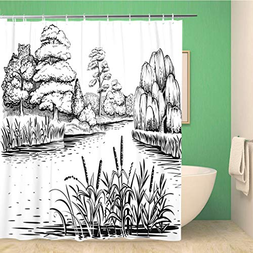 Awowee Bathroom Shower Curtain River Landscape Trees and Water Plants Riverside Forest Reed Polyester Fabric 60x72 inches Waterproof Bath Curtain Set with Hooks