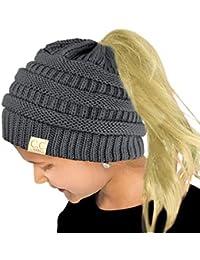 76213d10c7b Kids Ponytail Messy Bun BeanieTail Soft Winter Knit Stretch Beanie Hat