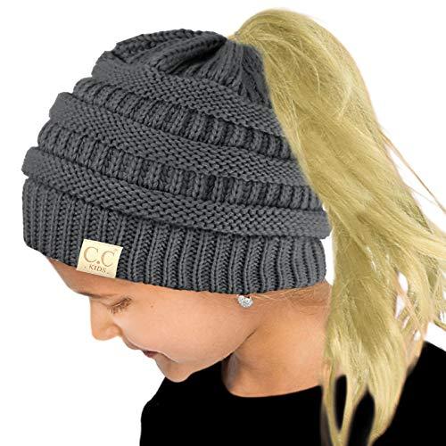 Kids Ponytail Messy Bun BeanieTail Soft Winter Knit Stretch Beanie Hat Solid Dk. Melange Gray ()