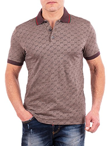 Gucci Polo Shirt, Mens Brown Short Sleeve Polo T- Shirt GG Print All Sizes - Brown Gucci