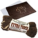 Dog ''Extra Thick'' Micro Fiber Pet and Dog Door Mat - Super Absorbent. Includes ''Water Proof Liner - Extra Floor Protection'' - Medium Size 32'' X 19'' Exclusive by iPrimio - Brown Color