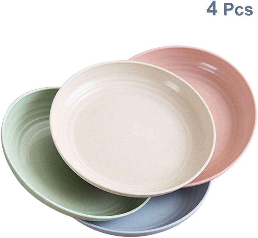 Platos de cena de paja de trigo de 7.8 pulgadas, aptos para microondas y lavavajillas, ligeros, sin BPA, para ensalada/pastel/postres, para bebés, niños, anticaídas, no tóxicos (4 colores) 4 PCS