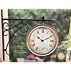 Outdoor Double-Sided Clock & Thermometer (NEW - Box Shows Wear)
