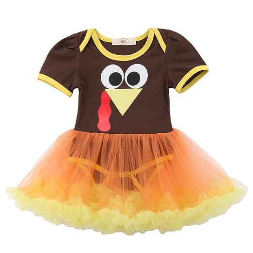 Amazon.com: Newborn Baby Girls Short Sleeve Thanksgiving Turkeys ...