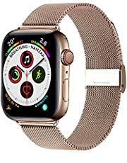 Winmy Compatible with Apple Watch Band 38mm 40mm 42mm 44mm, Women Stainless Steel Mesh Metal Loop Magnetic Closure Bands Replacement Wristband Strap for iWatch Series 5 Series 4/3/2/1
