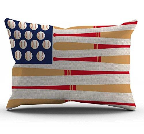 - DECOPOW Baseball Bat Flag Pillow Cover,Baseball Decor Cotton Linen Decorative Throw Pillow Case 12