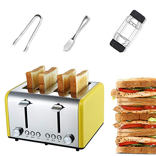 (Aiwer Toaster 4 Slice Stainless Steel Toaster, Extra Wide Slots Four Slice Bread Toaster with Bread Clips, Butter Knife, Grill,Yellow)