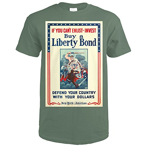 Buy a Liberty Bond Vintage Poster (artist: Winsor Mccay) USA c. 1917 (Military Green T-Shirt (Wwi Liberty Bonds)