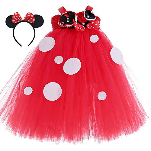 (Minnie Mouse Party Tutu Dress for Girls Halloween Birthday Party Cosplay Outfit for Kids 5T)